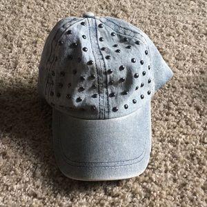 Denim cap with silver tone studs